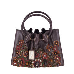 Oscar De La Renta Brown Top Handle Bag With Stone Embellishments