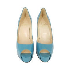 Christian Louboutin Turquoise Patent Leather Peep Toe Pumps.  Size 36 1/2""