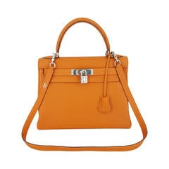 Hermes Kelly bag 28 CM In Orange Togo With Silver Hardware.