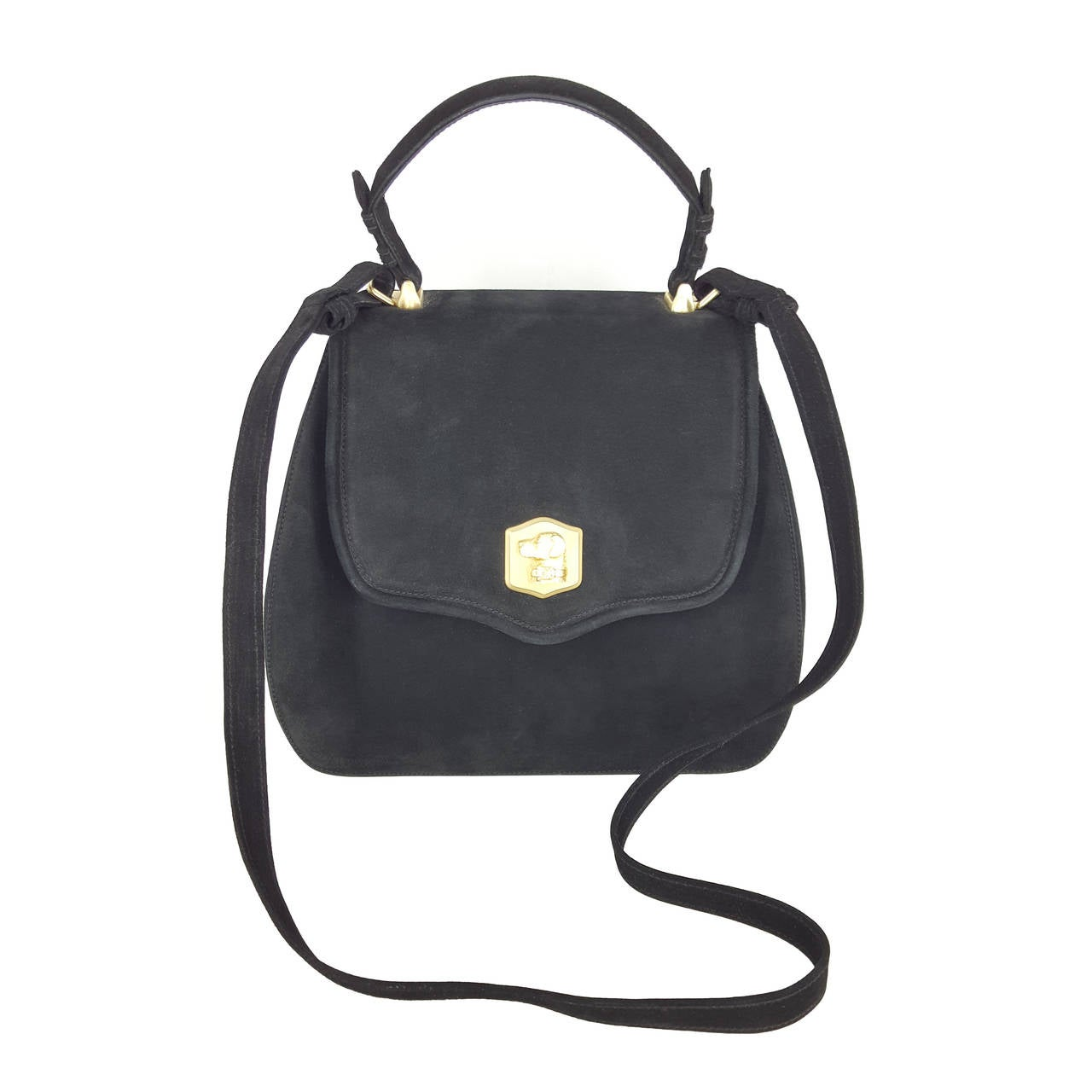 Kieselstein Cord Black Suede Large Trophy Bag With Labrador Closure.