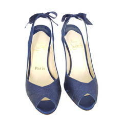 Christian Louboutin Navy Blue Sparkle Sling Back Heels With Bow.  Size 36