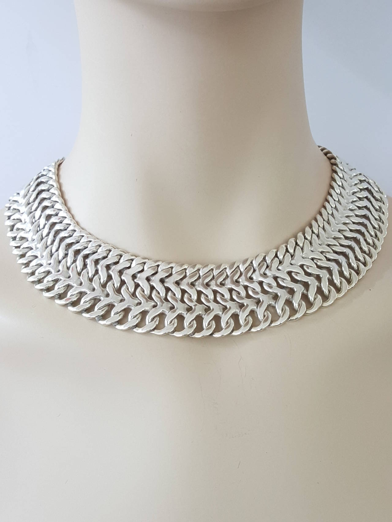 vintage mexican sterling silver wide choker collar