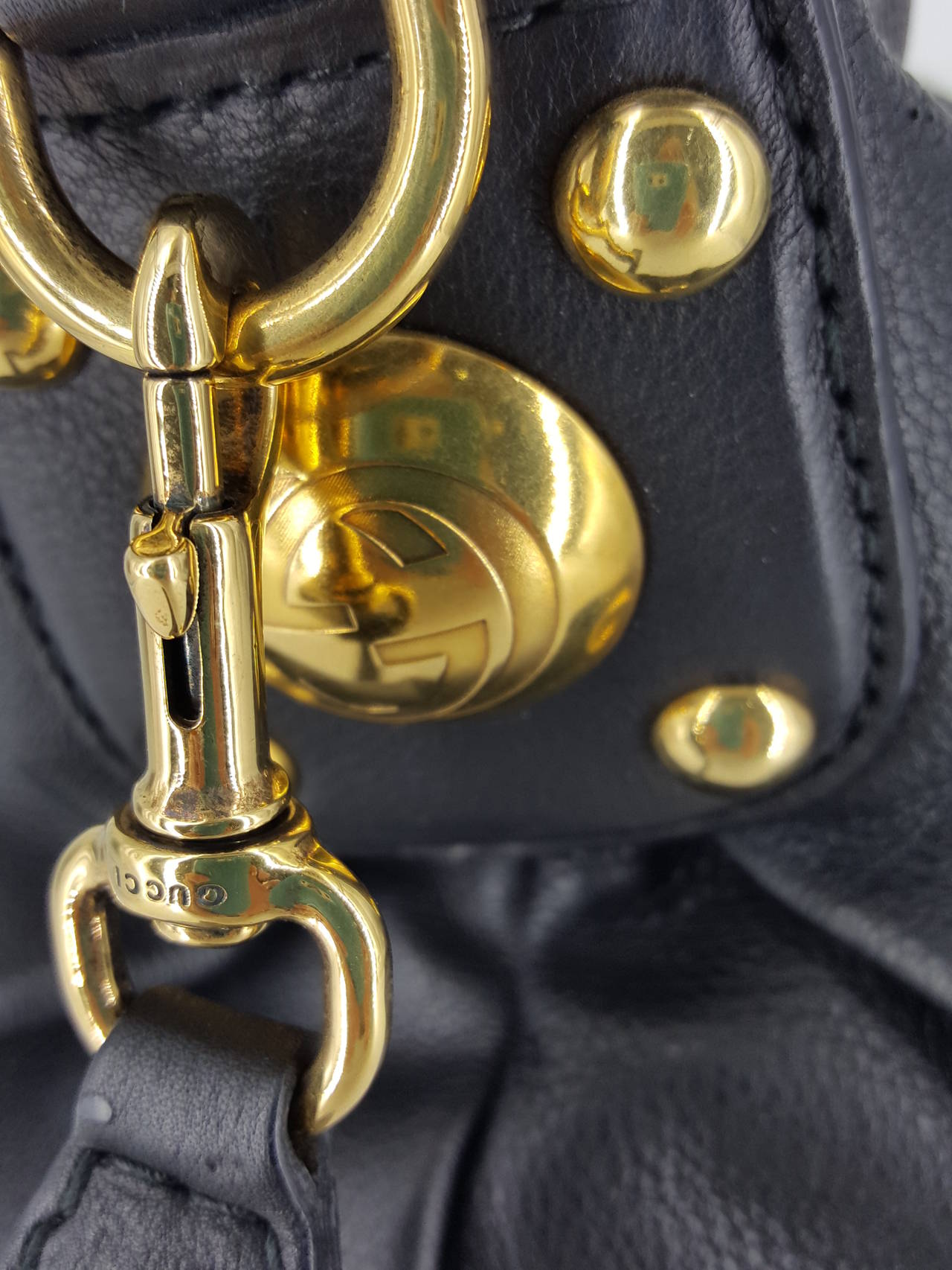 """Women's Gucci Black Leather """"Sunset"""" Hobo Bag With Gold Hardware.  New For Sale"""