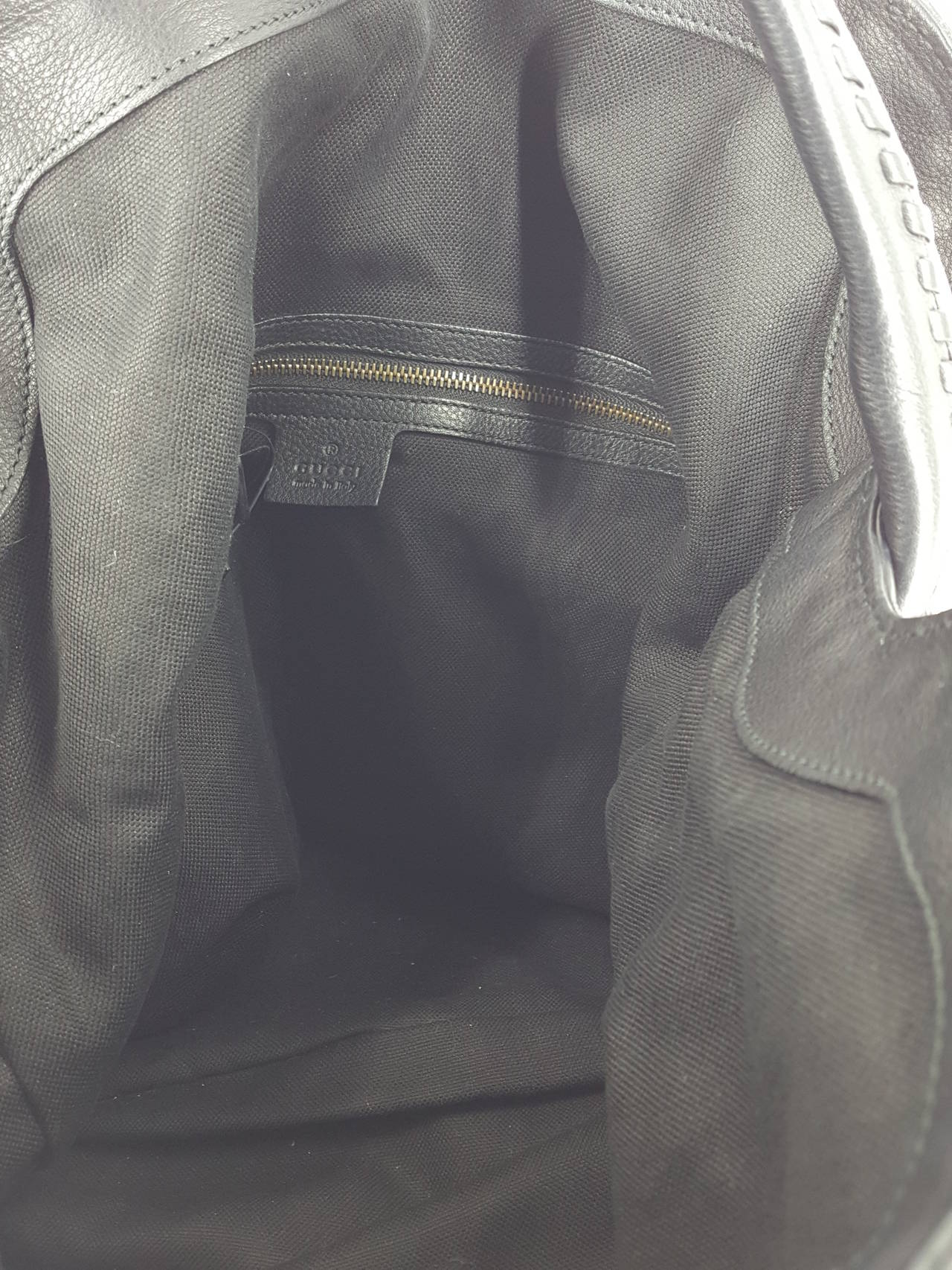 """Gucci Black Leather """"Sunset"""" Hobo Bag With Gold Hardware.  New For Sale 4"""