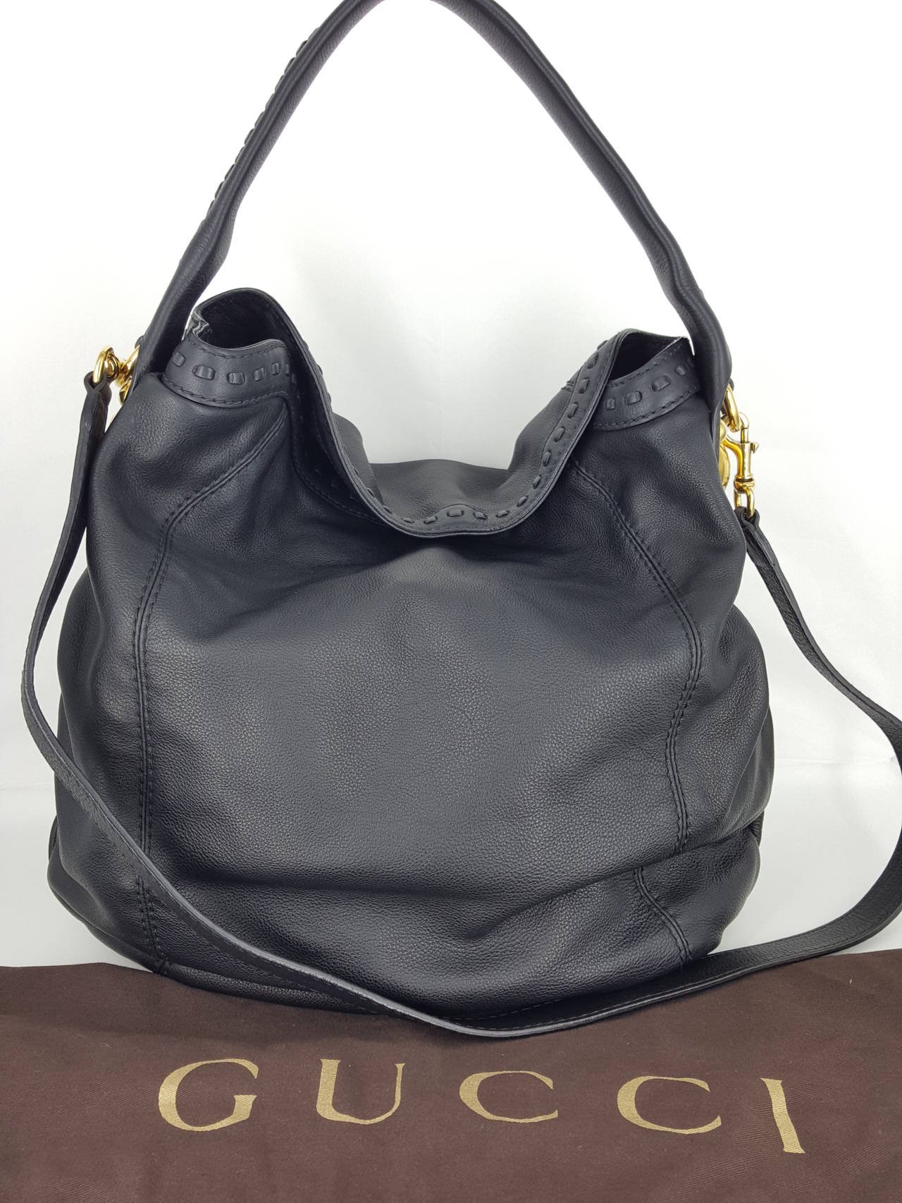 """Gucci Black Leather """"Sunset"""" Hobo Bag With Gold Hardware.  New For Sale 5"""