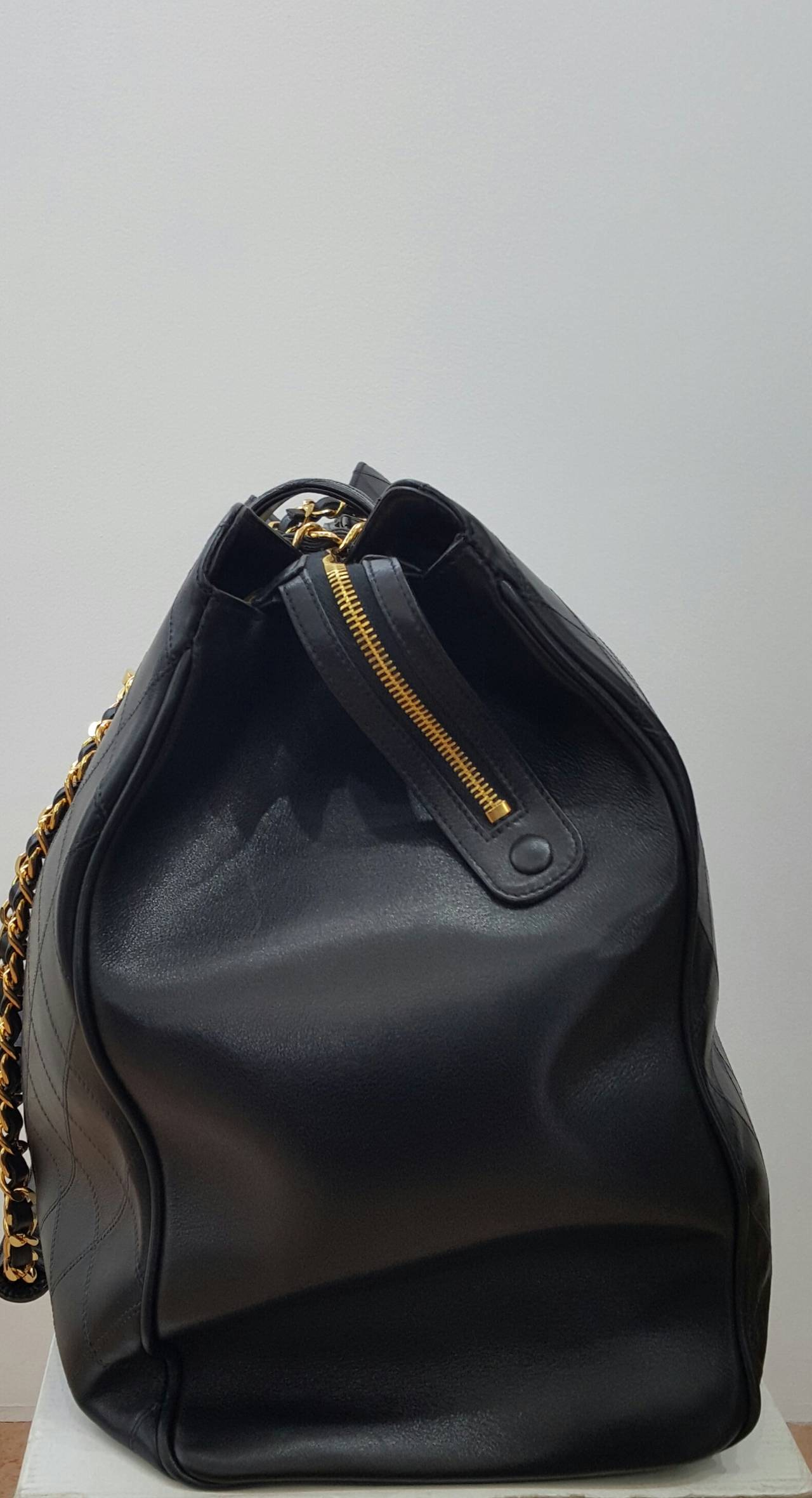 Chanel Black XL Jumbo Weekender Overnighter With Gold Hardware. In New never worn Condition For Sale In Delray Beach, FL