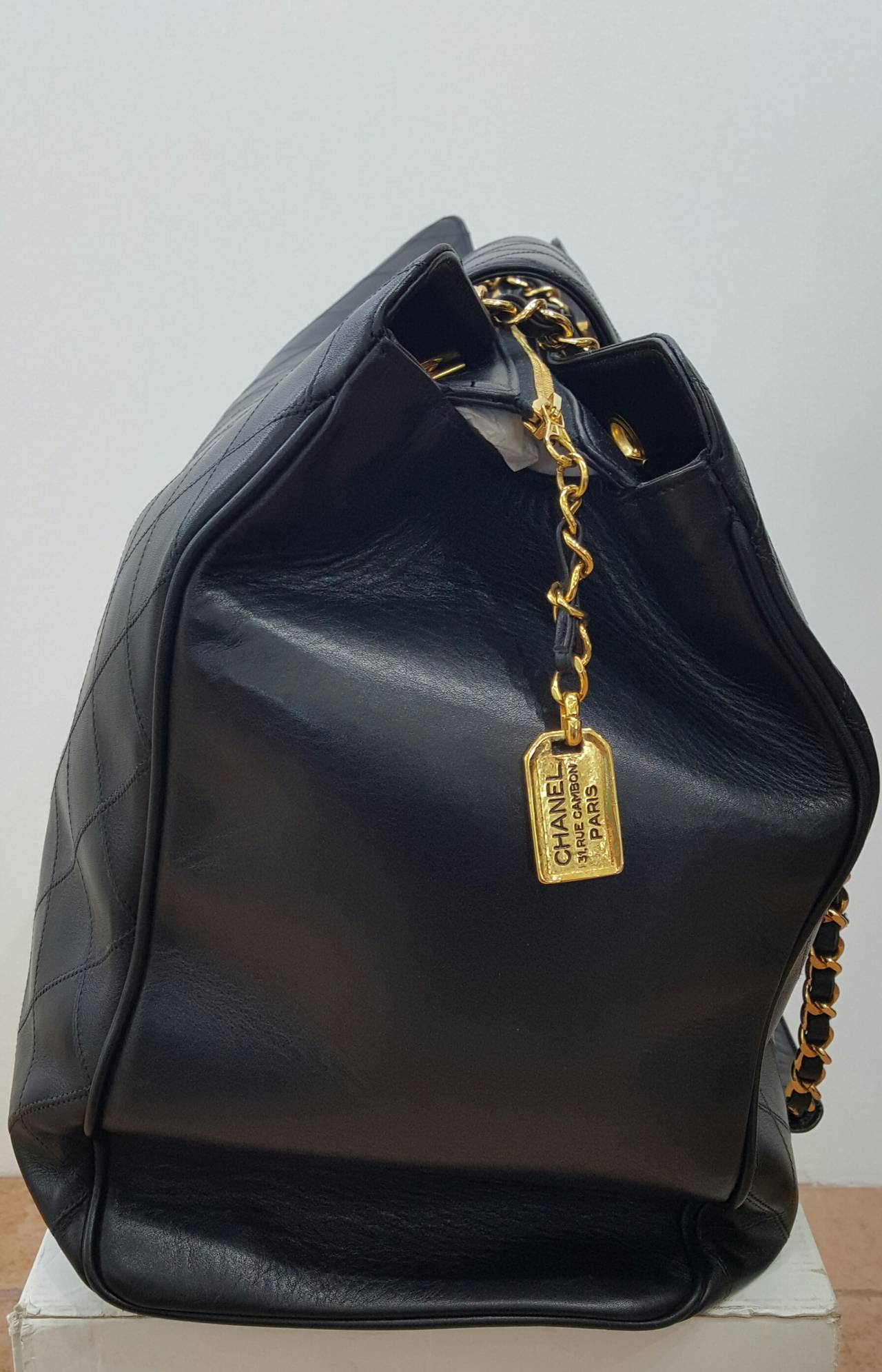 Women's Chanel Black XL Jumbo Weekender Overnighter With Gold Hardware. For Sale