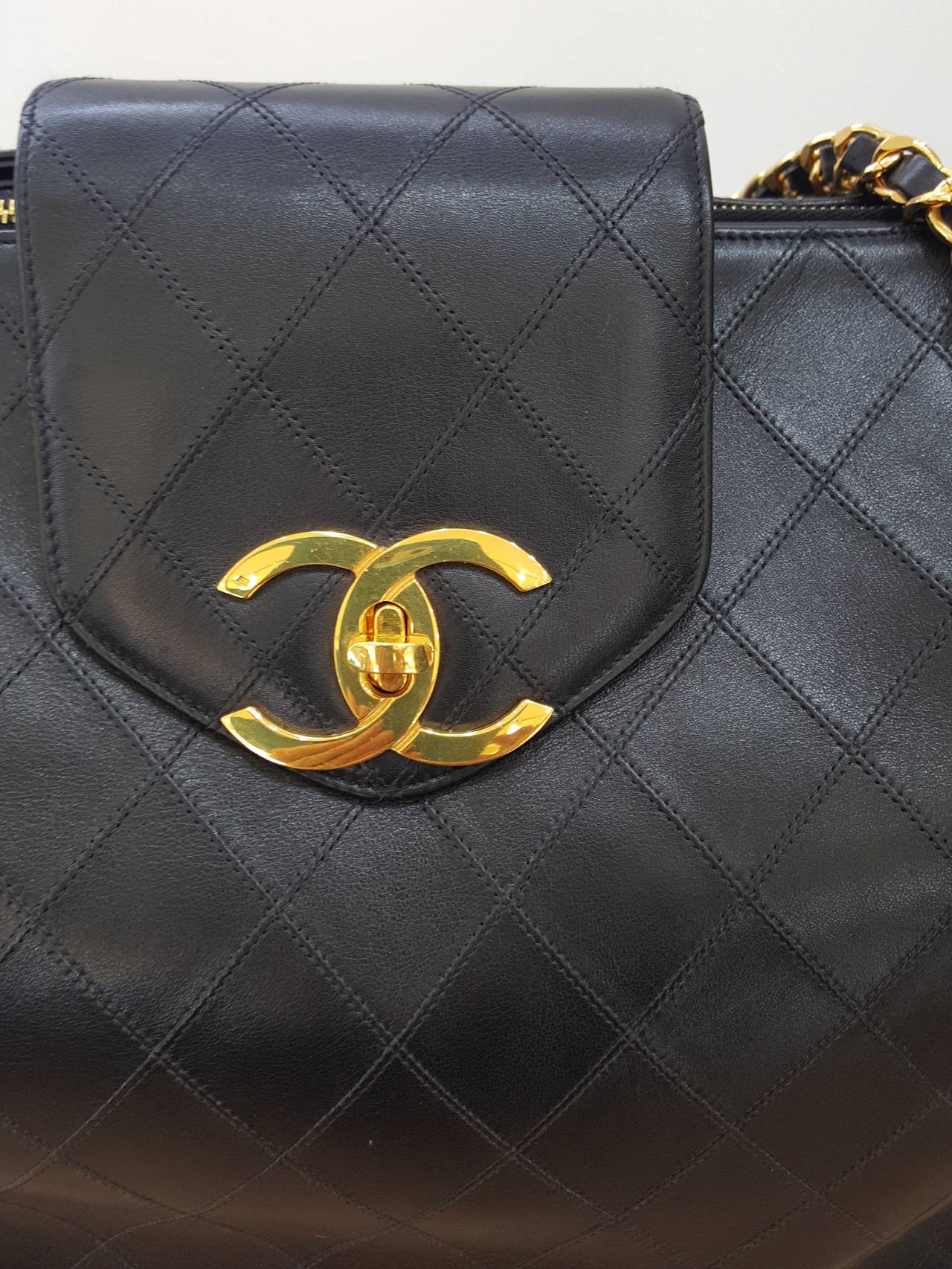 Chanel Black XL Jumbo Weekender Overnighter With Gold Hardware. For Sale 2