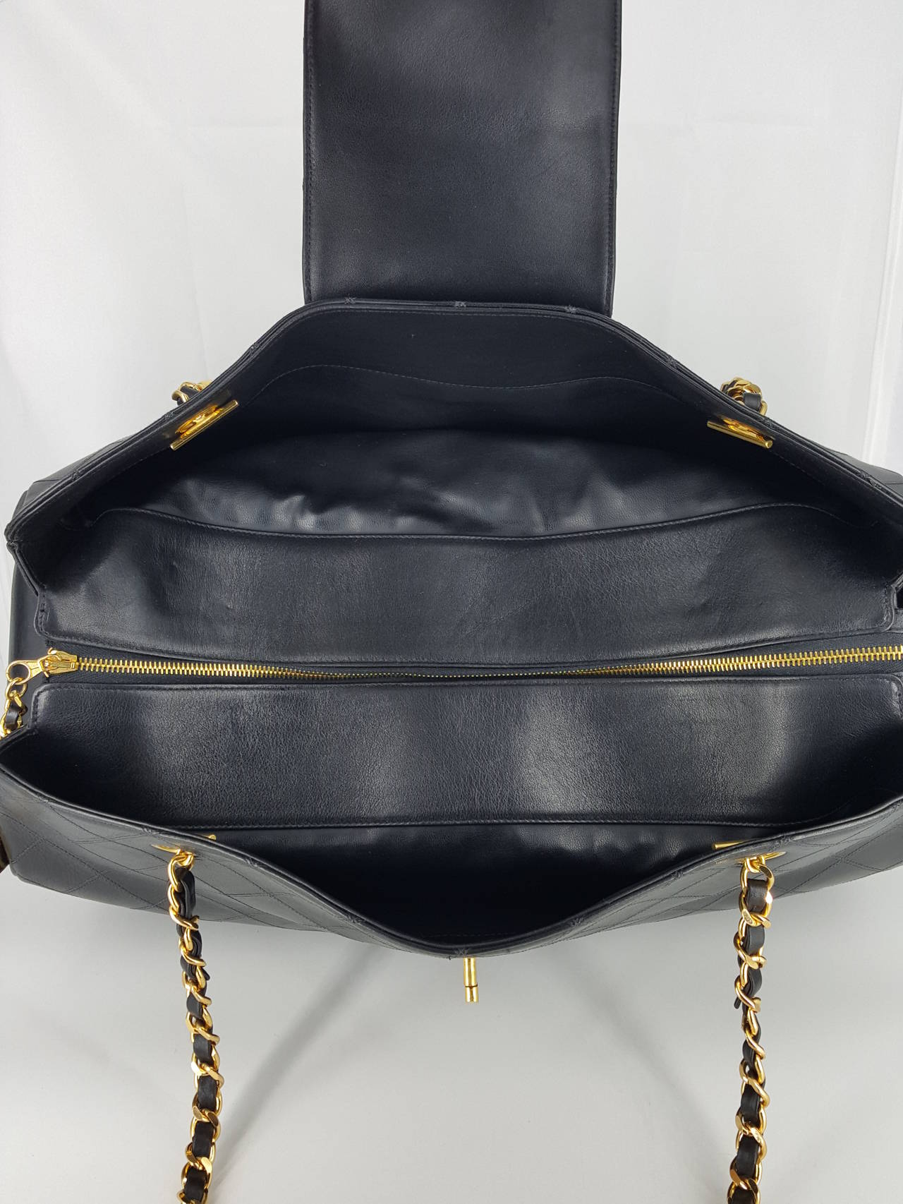 Chanel Black XL Jumbo Weekender Overnighter With Gold Hardware. For Sale 3