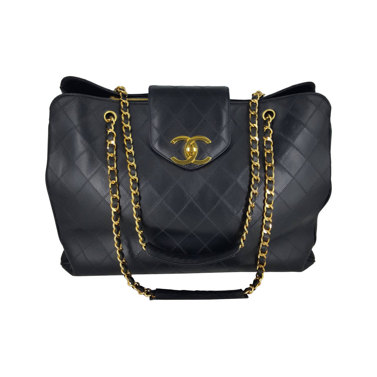 Chanel Black XL Jumbo Weekender Overnighter With Gold Hardware. For Sale