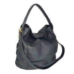 "Gucci Black Leather ""Sunset"" Hobo Bag With Gold Hardware.  New"