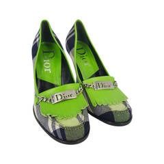 Christian Dior Vibrant Plaid Flannel Pumps in size 36 1/2