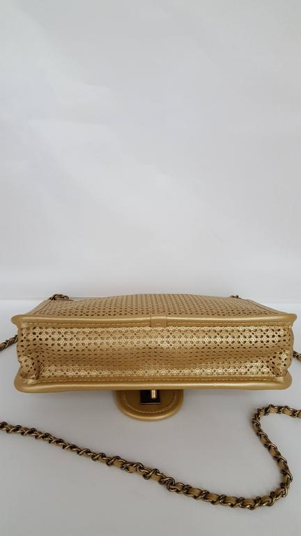 Chanel Rare Shoulder Flap Bag In Metallic Beige From the Dubai Collection 3
