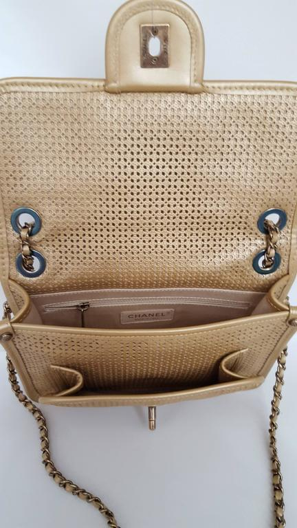 Chanel Rare Shoulder Flap Bag In Metallic Beige From the Dubai Collection 4