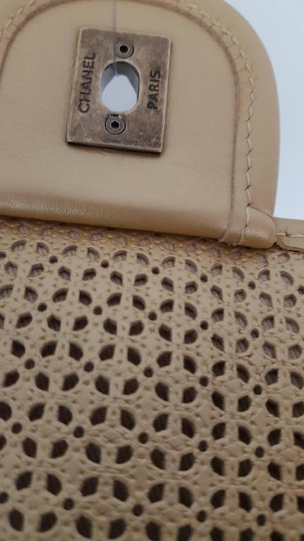 Chanel Rare Shoulder Flap Bag In Metallic Beige From the Dubai Collection 5