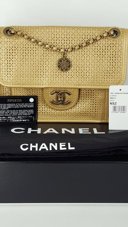 Chanel Rare Shoulder Flap Bag In Metallic Beige From the Dubai Collection 7