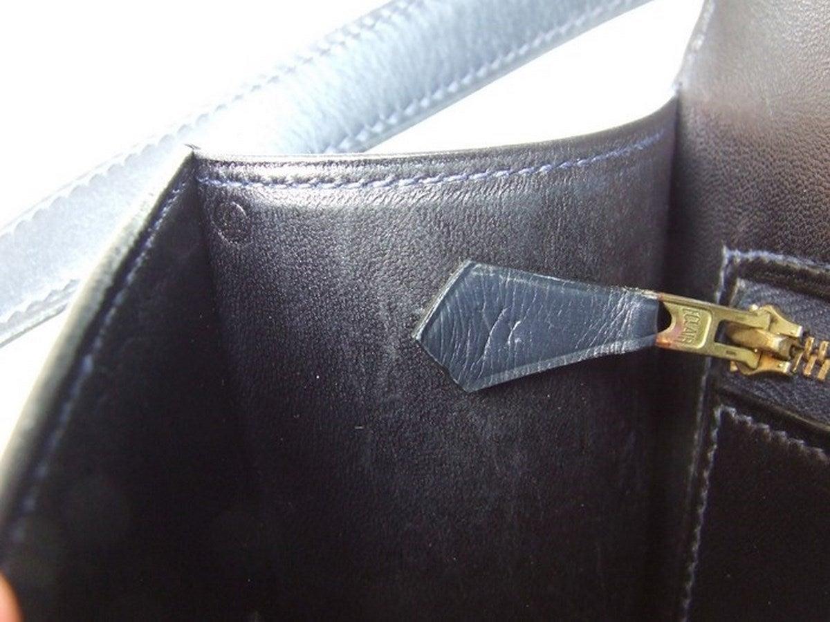 Vintage Hermes Constance H Bag Blue Box Leather Gold Hardware 23 cm 10