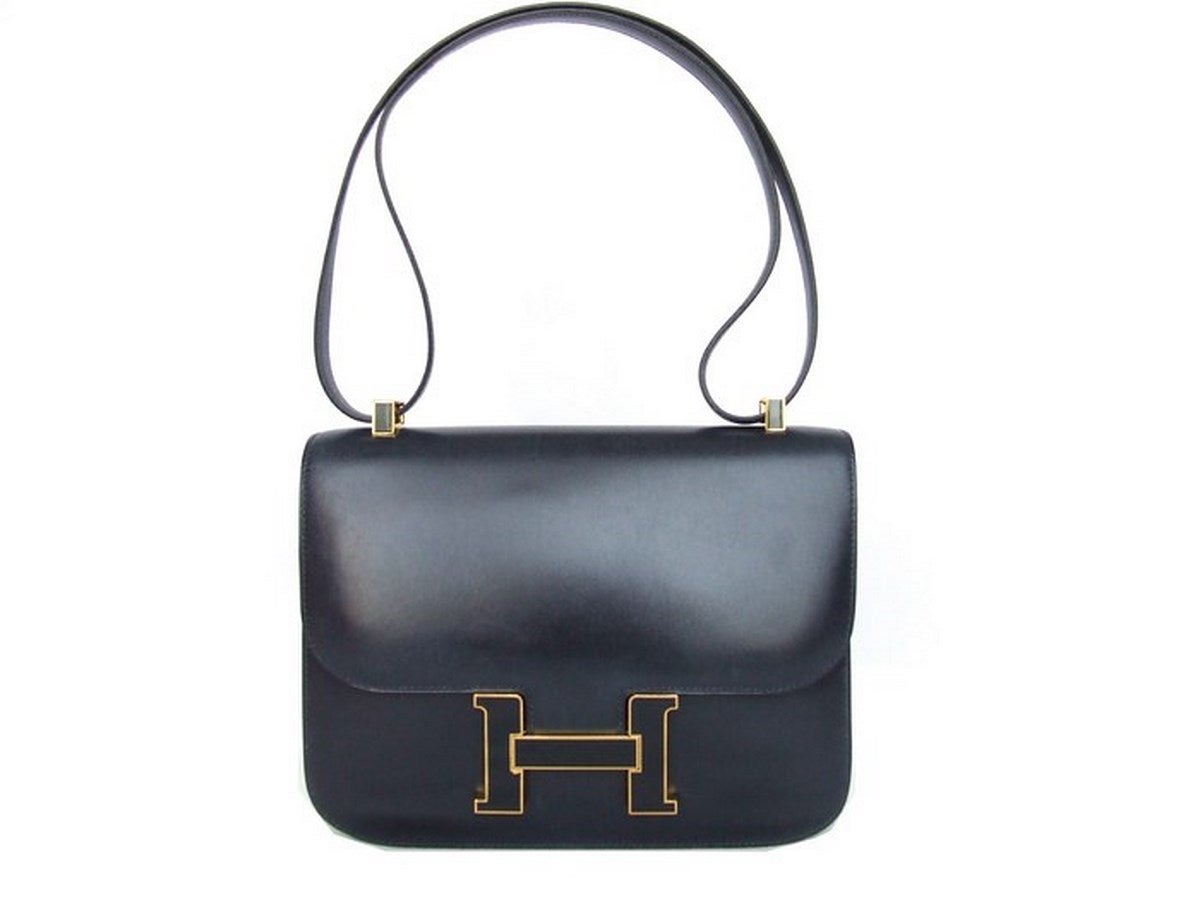 Vintage Hermes Constance H Bag Blue Box Leather Gold Hardware 23 cm 3