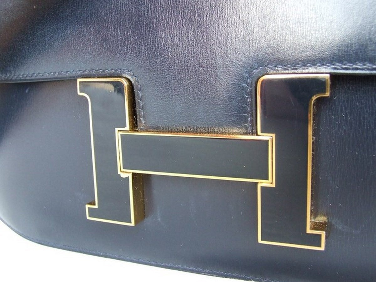 Vintage Hermes Constance H Bag Blue Box Leather Gold Hardware 23 ...