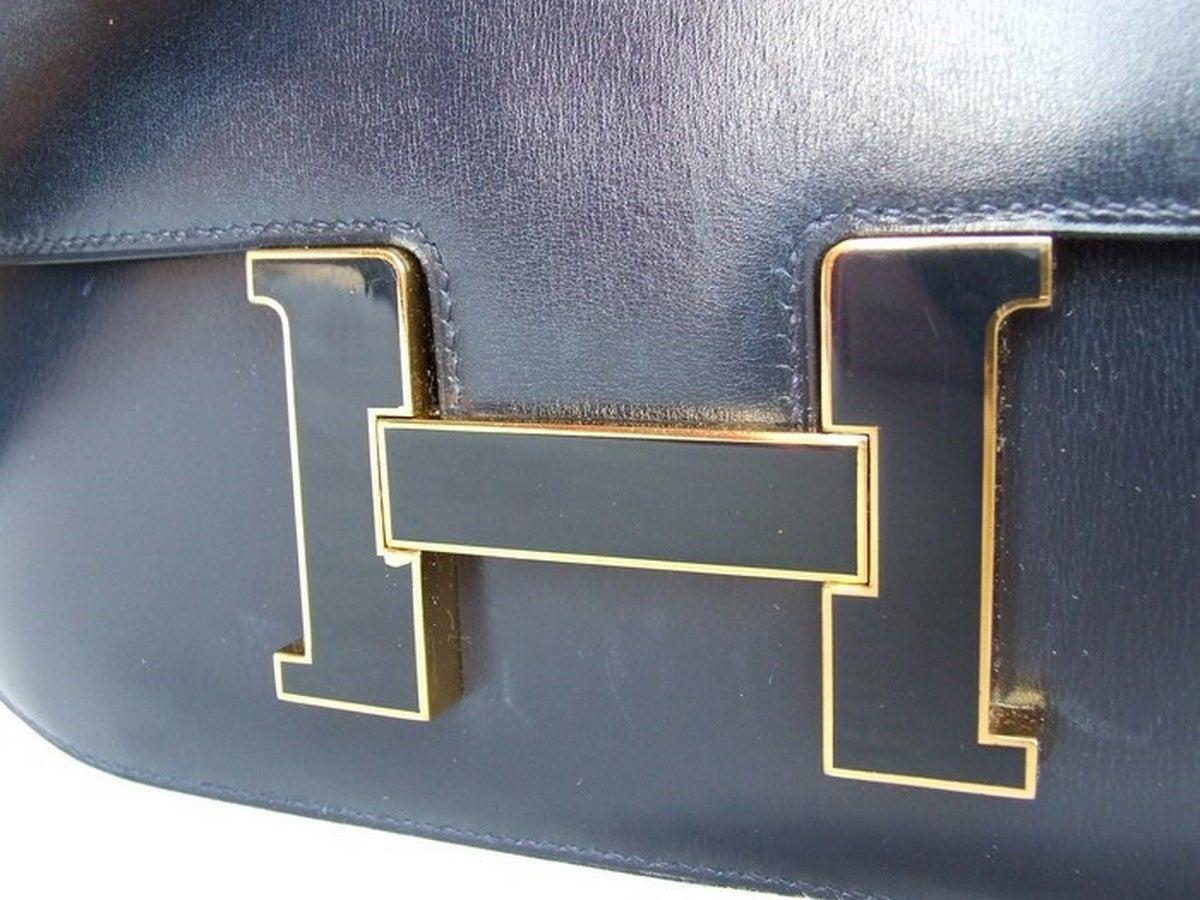 Vintage Hermes Constance H Bag Blue Box Leather Gold Hardware 23 cm 4