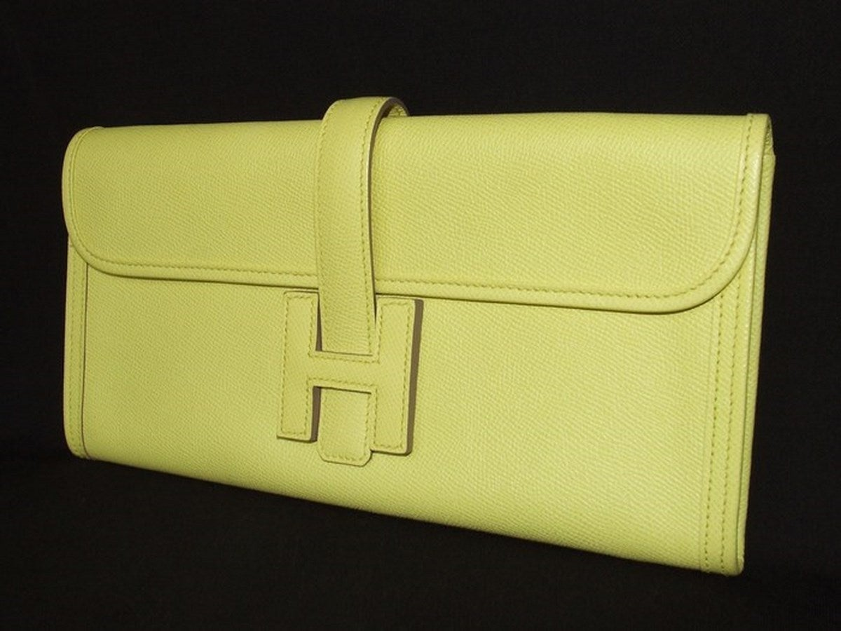 Authentic Hermes Jige Elan H Clutch Bag Soufre Epsom Leather 29 cm ...