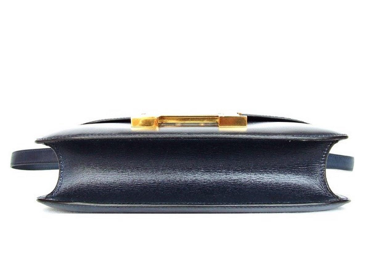 Vintage Hermes Constance H Bag Blue Box Leather Gold Hardware 23 cm 2