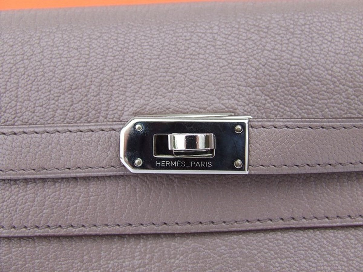 Authentic Hermes Kelly Wallet Medium Silver Hdw In Box 2