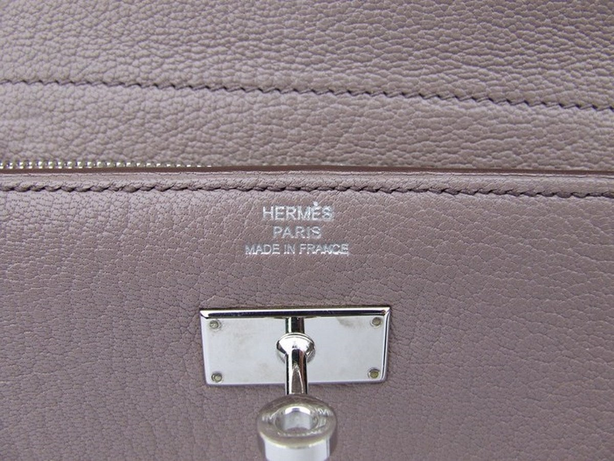 Authentic Hermes Kelly Wallet Medium Silver Hdw In Box 9