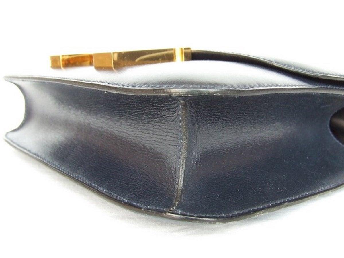 Vintage Hermes Constance H Bag Blue Box Leather Gold Hardware 23 cm 6