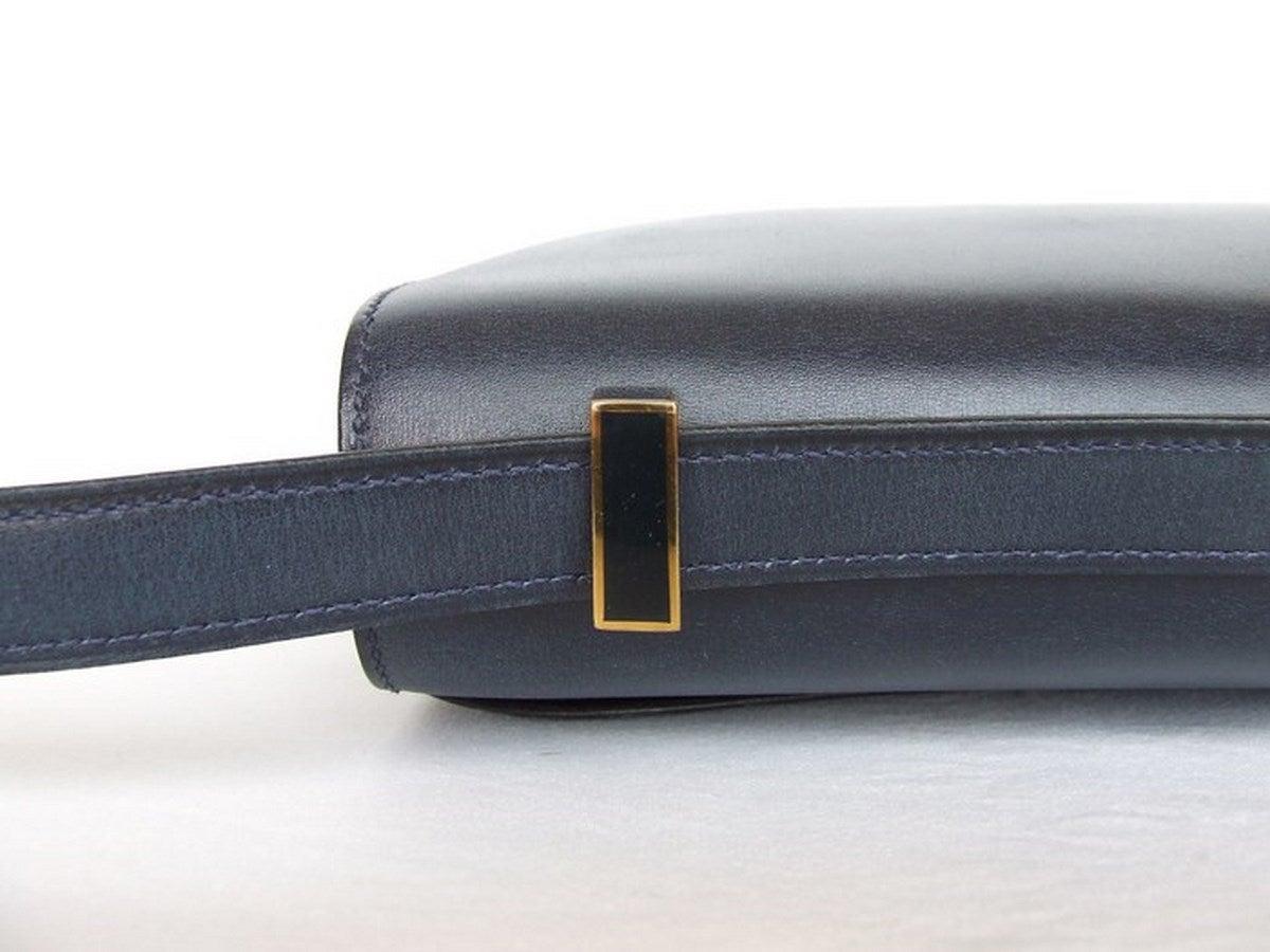Vintage Hermes Constance H Bag Blue Box Leather Gold Hardware 23 cm 7
