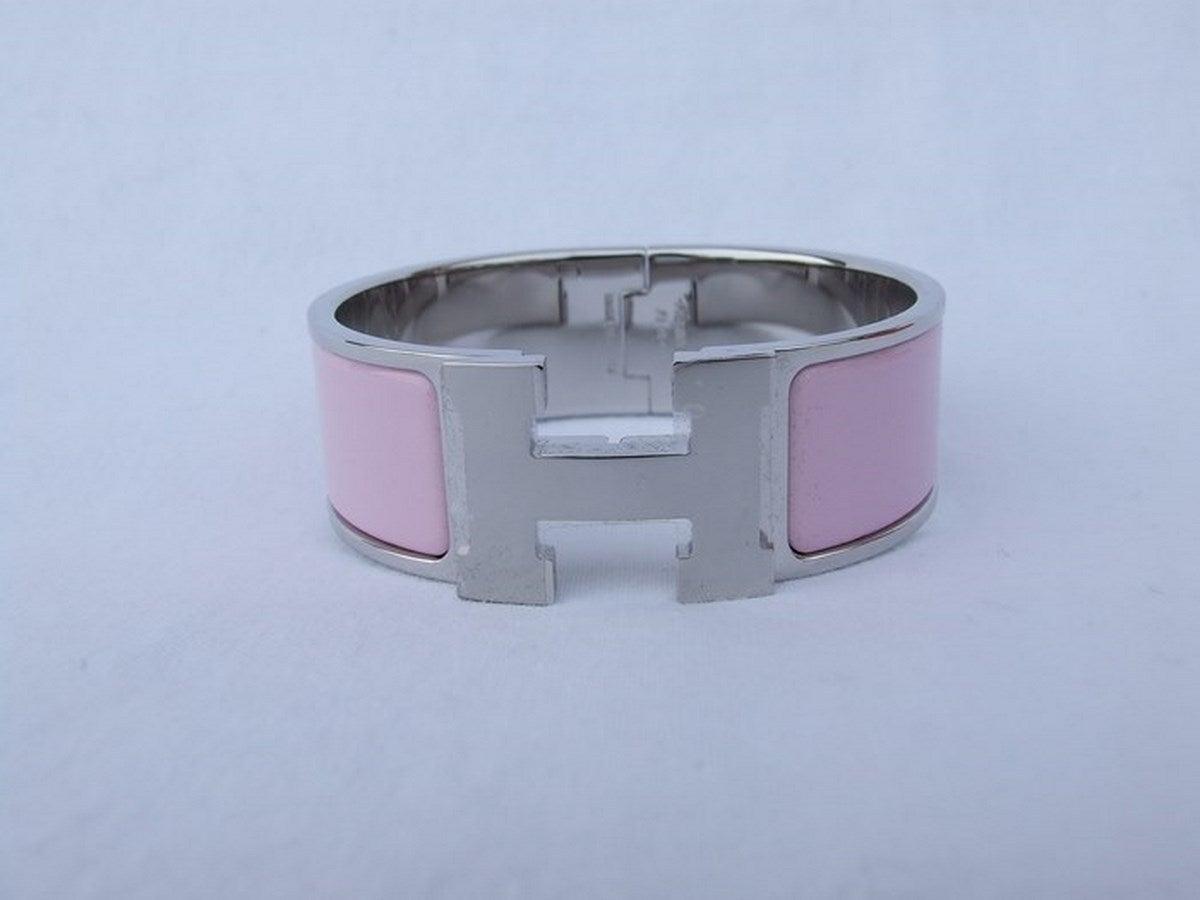 Authentic Hermes Clic Clac H Enamel Bracelet Rose Pink