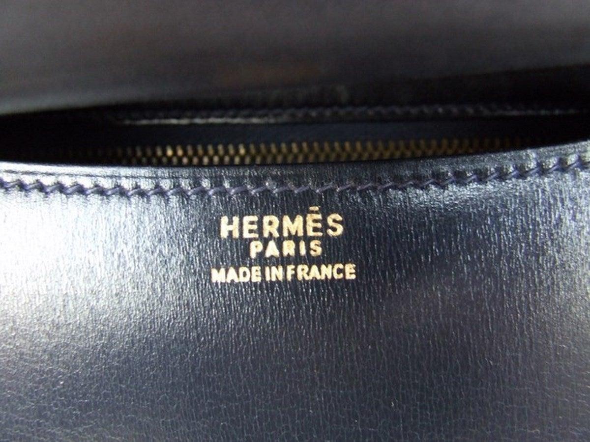 Vintage Hermes Constance H Bag Blue Box Leather Gold Hardware 23 cm 9