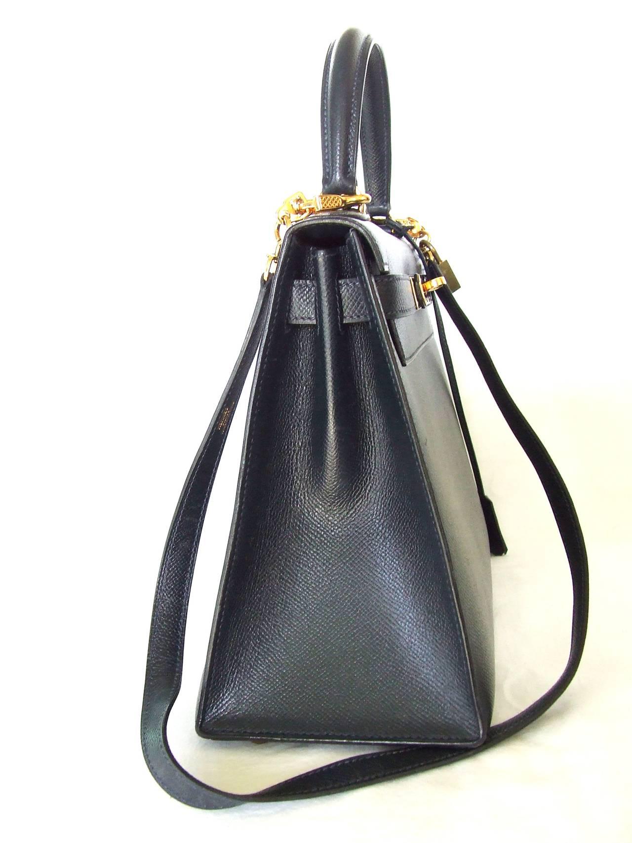 Women s Authentic Hermes Kelly 28 Sellier Bag Epsom Bleu Gold Hardware For  Sale 7378e1dfe8