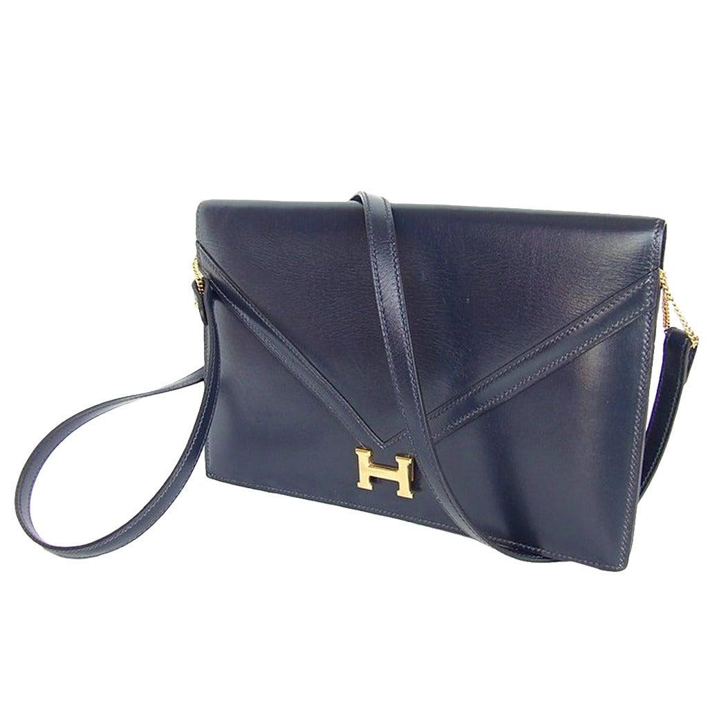 57732b6c7938 Authentic Hermes Lydie Clutch Bag 2 Ways Bleu Blue Gold Hardware For Sale