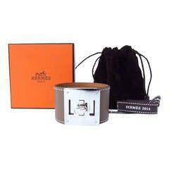 Authentic Hermes Kelly Dog Bracelet Etoupe Palladium Hardware