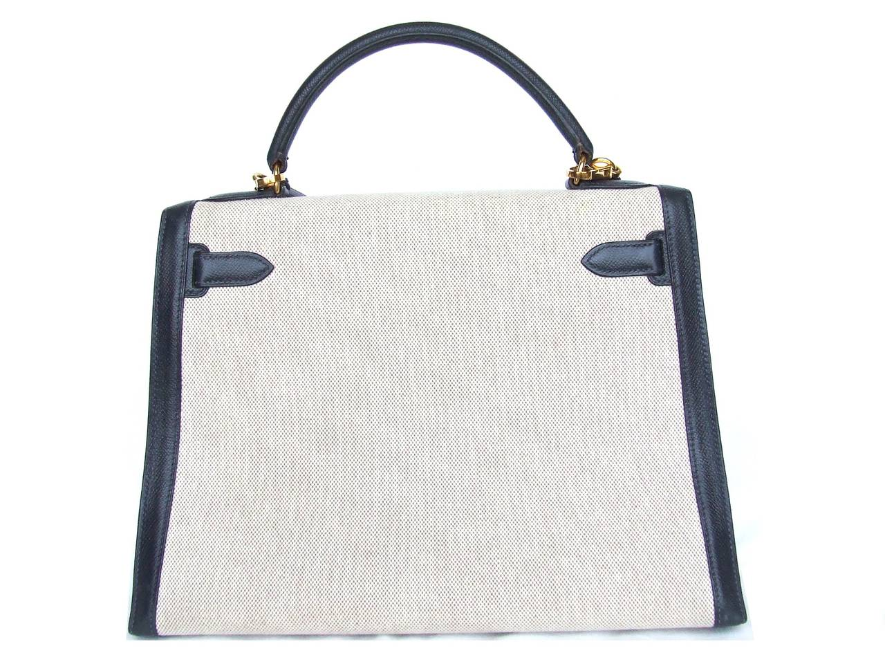 Authentic Hermes Kelly 32 Bag Sellier Bi Matiere Canvas Leather ...