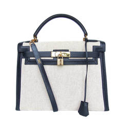 Authentic Hermes Kelly 32 Bag Sellier Bi Matiere Canvas Leather Gold Hdw
