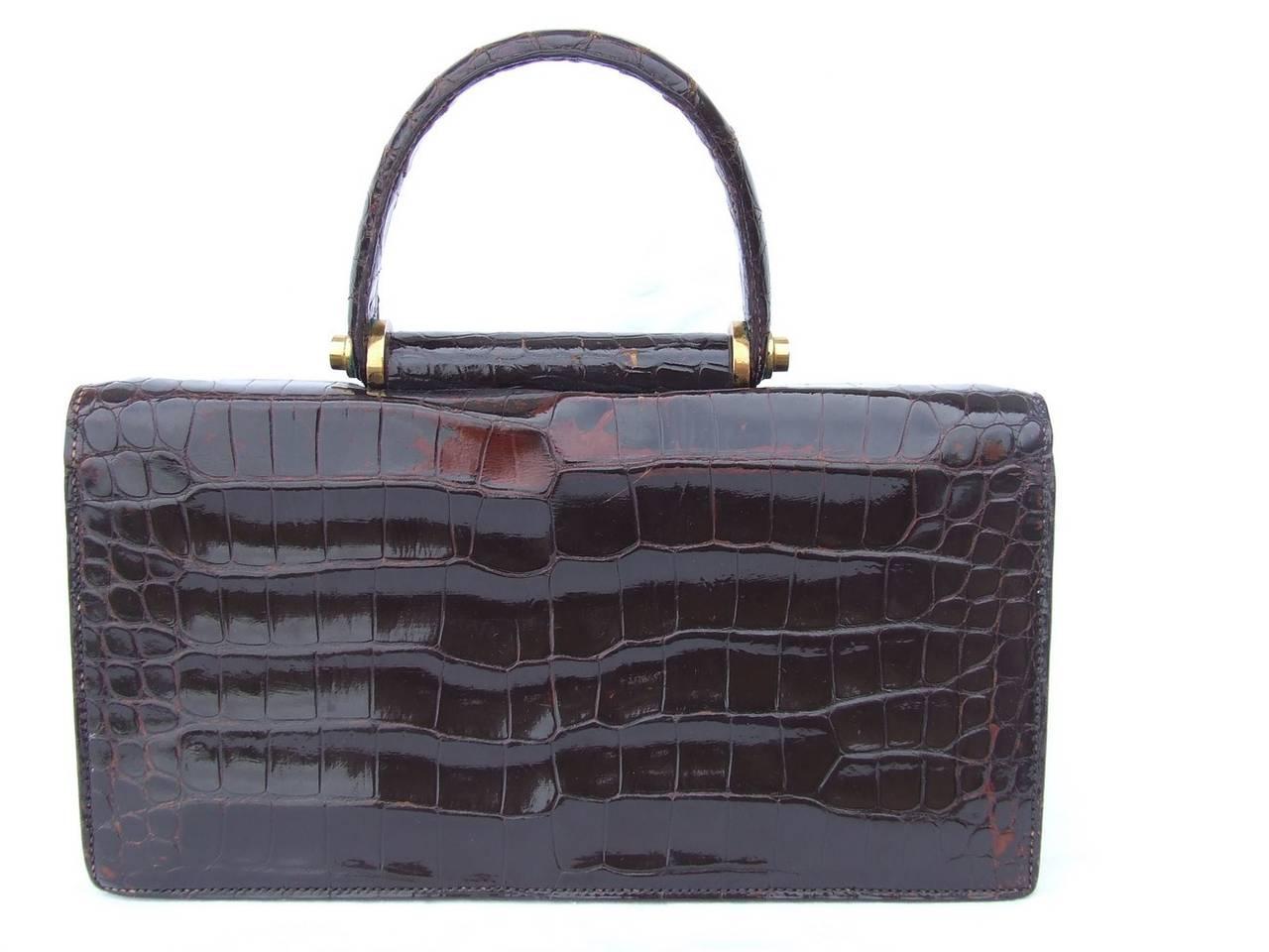 authentic hermes vintage handbag brown crocodile at 1stdibs. Black Bedroom Furniture Sets. Home Design Ideas