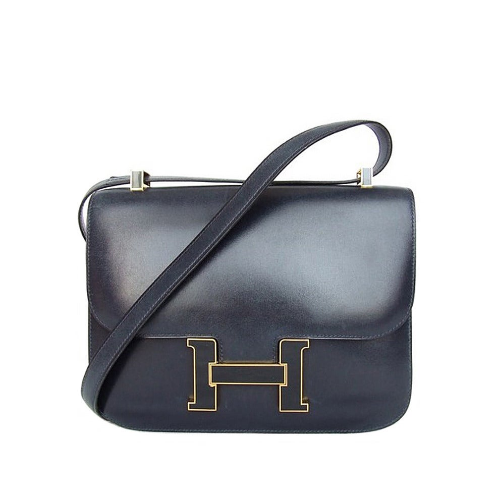 original birkin bag - Vintage Hermes Constance H Bag Blue Box Leather Gold Hardware 23 ...