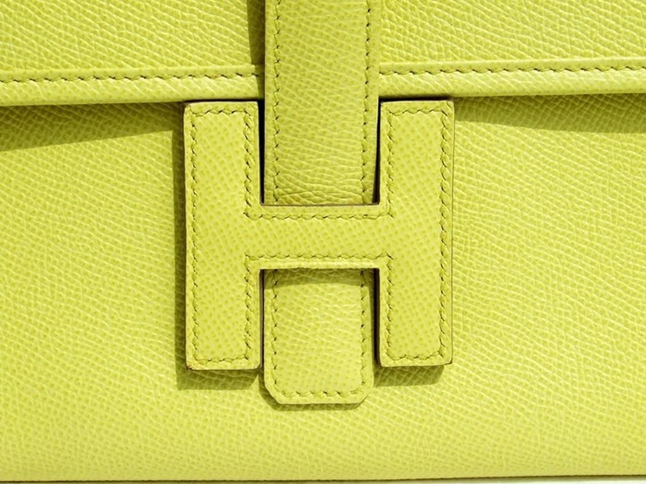 Authentic Hermes Jige Elan H Clutch Bag Soufre Epsom Leather 29 cm ...