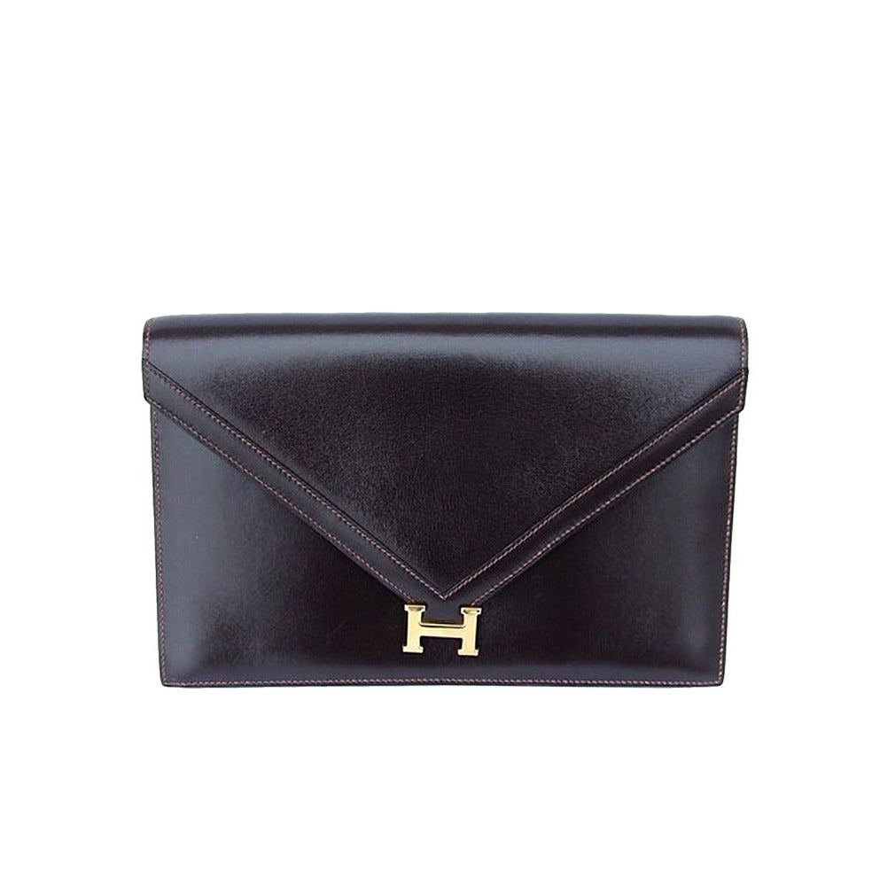 hermes vintage box leather brown pochette clutch