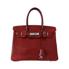 Authentic Hermes Birkin 30 Handbag Rouge H Crocodile Niloticus RARE