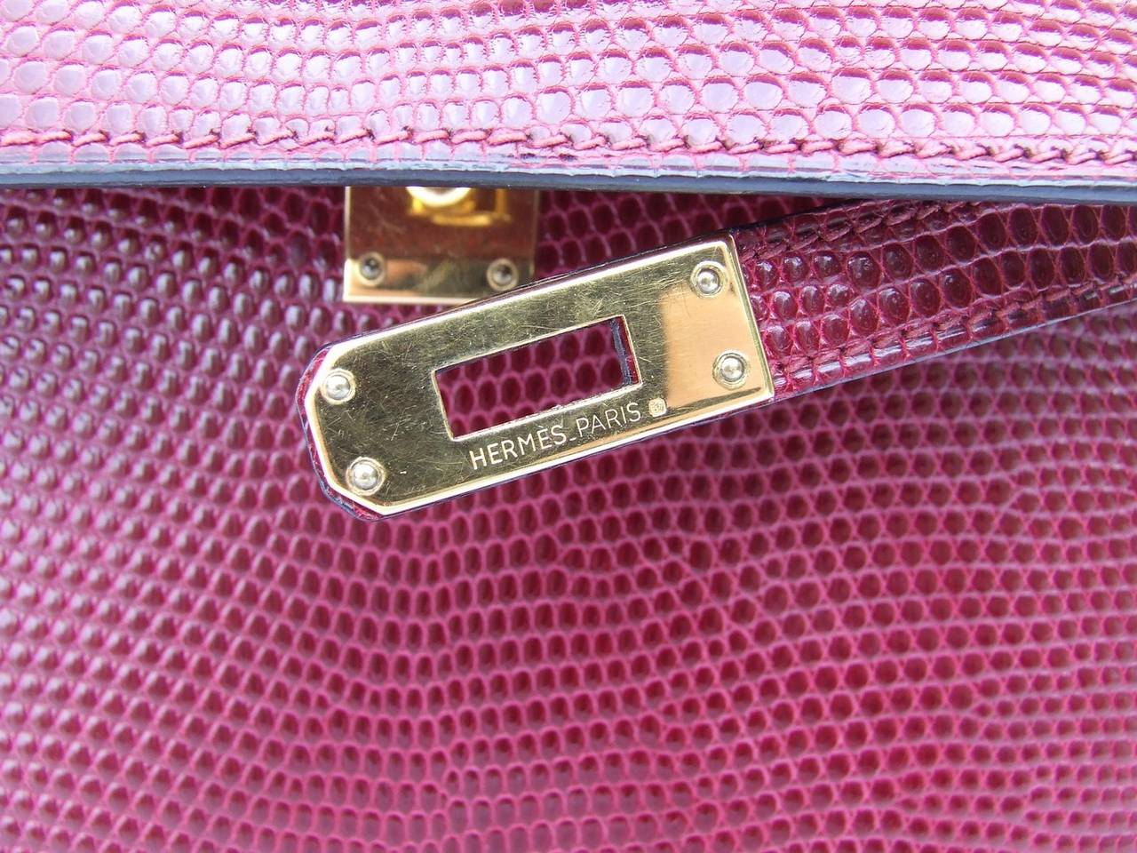 Authentic Hermes Mini Kelly 20 Bag 3 ways Rouge H Lizard Gold Hdw ...
