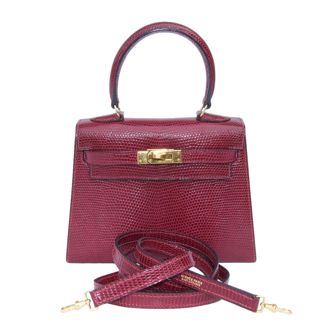 Authentic Hermes Mini Kelly 20 Bag 3 ways Rouge H Lizard ...