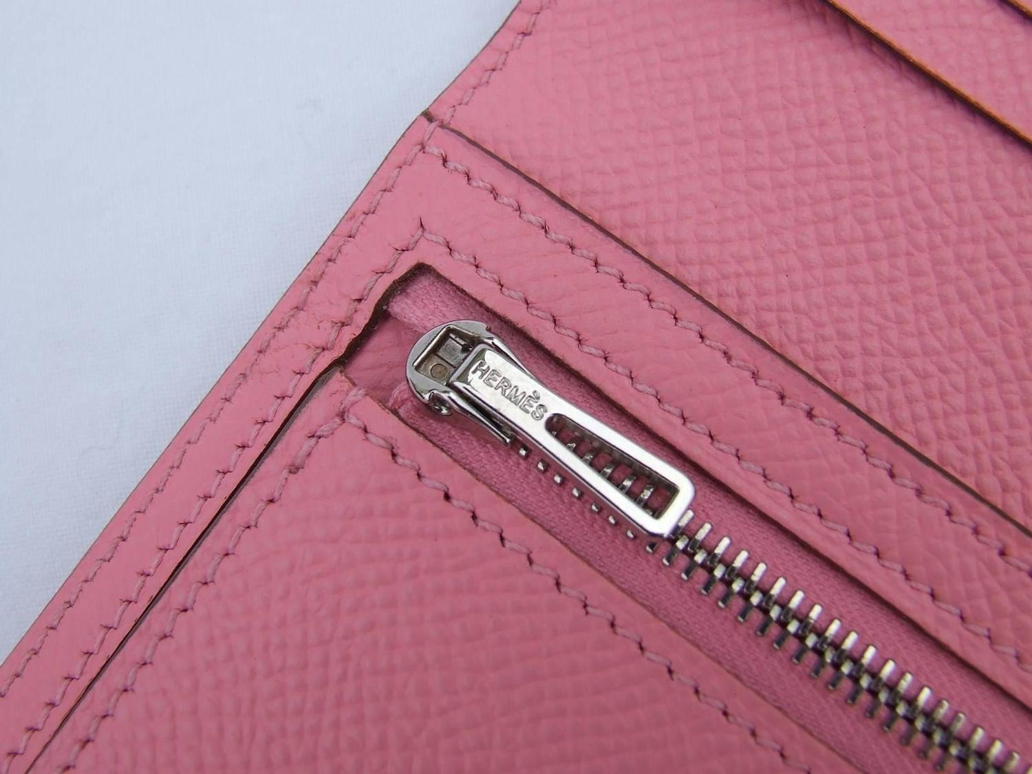 authentic hermes bearn wallet rose confetti epsom leather phw pink