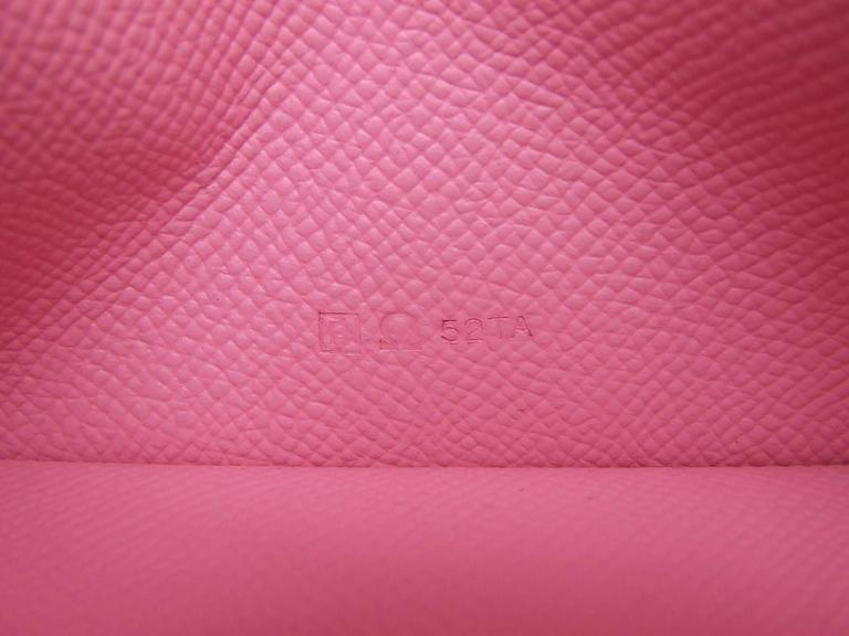 Authentic Hermes Bearn Wallet Rose Confetti Epsom Leather PHW Pink In Excellent Condition For Sale In ., FR