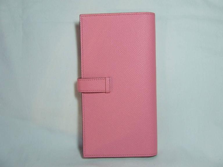 Women's Authentic Hermes Bearn Wallet Rose Confetti Epsom Leather PHW Pink For Sale