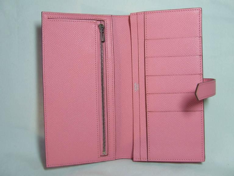 Authentic Hermes Bearn Wallet Rose Confetti Epsom Leather PHW Pink For Sale 1
