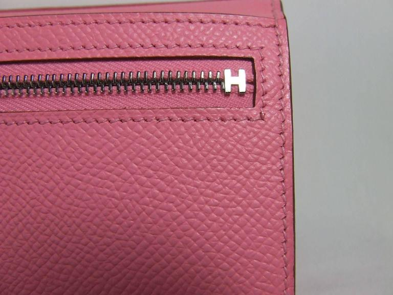 Authentic Hermes Bearn Wallet Rose Confetti Epsom Leather PHW Pink For Sale 2