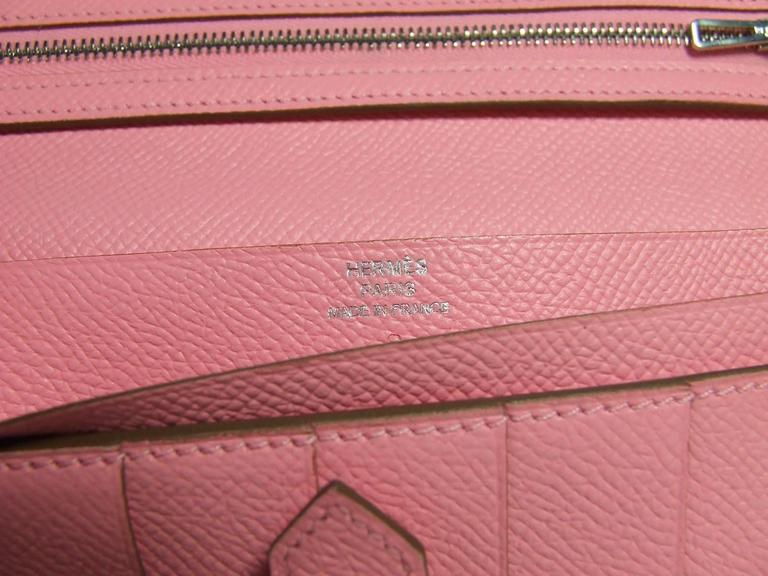 Authentic Hermes Bearn Wallet Rose Confetti Epsom Leather PHW Pink For Sale 3